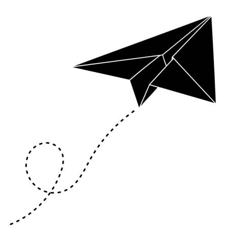 Paper airplane with track. Black outline drawing. Vector illustration isolated on white background