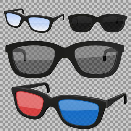 Set of glasses, isolated. Vector 3d illustration