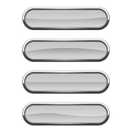 White glass buttons with metal frame. Vector 3d illustration isolated on white background