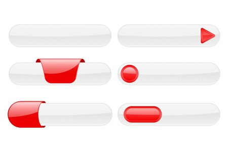 White web buttons with red tags. Vector 3d illustration isolated on white background