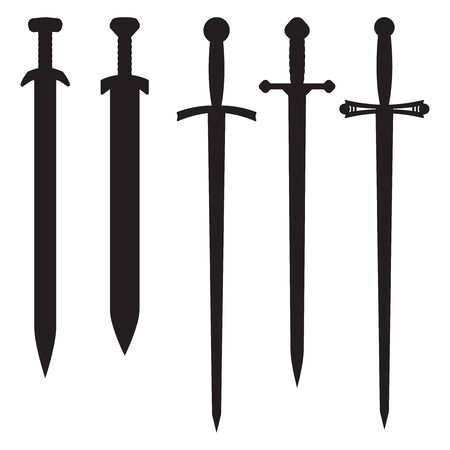 Swords. Set of black icons. Vector illustration isolated on white background.