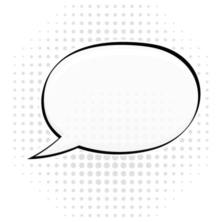 Speech bubble on white dotted background. Pop art style. Vector illustration