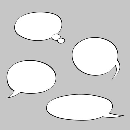 Speech bubbles. Blank signs on gray background. Vector illustration