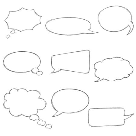 Speech bubbles icons set. Various shape. Vector illustration isolated on white background