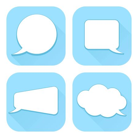 Speech bubbles. Blue web icons with blank signs. Vector illustration isolated on white background Ilustração