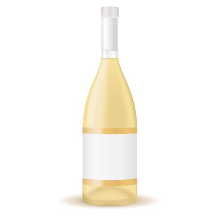 Bottle of white wine with blank label. Vector 3d illustration isolated on white background