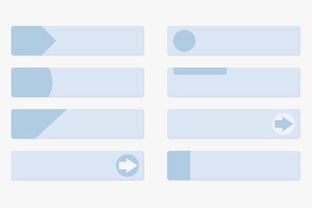 Gray web buttons with blue tags. Flat design. Vector illustration isolated on white background