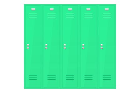 Green lockers section. Vector illustration isolated on white background