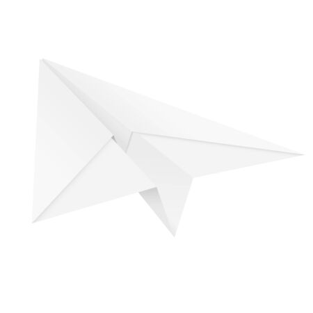 Paper airplane. Folded glider. Vector illustration isolated on white background