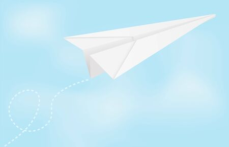 Paper airplane in blue sky. Vector illustration