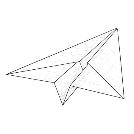 Paper airplane. Hand drawn sketch. Vector illustration isolated on white background Ilustração