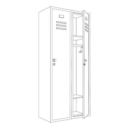 Lockers with one open door. Outline drawing. Vector illustration isolated on white background
