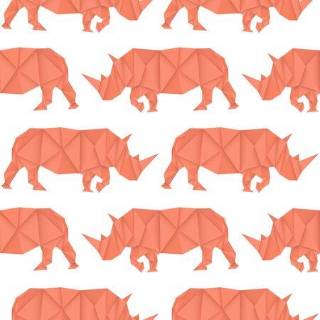 Rhinoceros. Red paper origami seamless pattern. Vector illustration