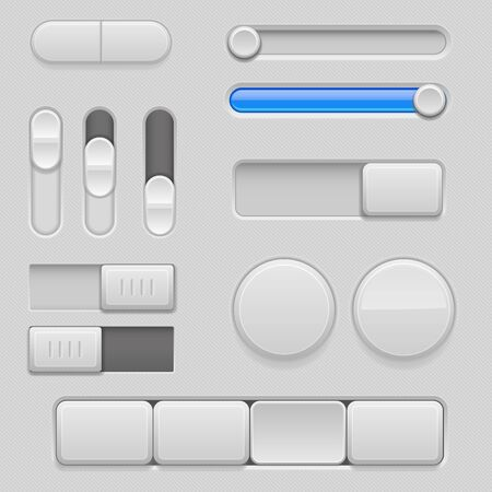 Gray web buttons with blue design elements. Push buttons, toggle switch buttons and sliders. Vector 3d illustration