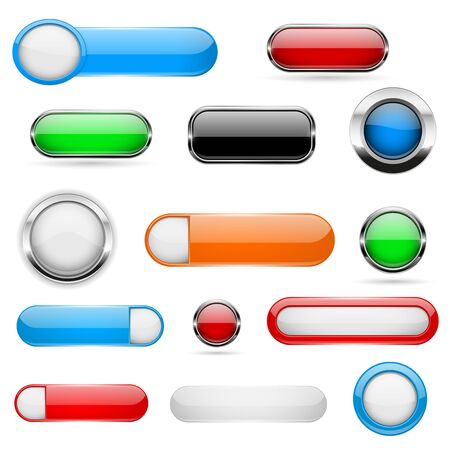 Web buttons. Colored set of icons with and without metal frame. 3d shiny elements on white background. Vector illustration Ilustração Vetorial