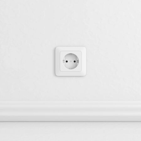 Electric socket on white wall. 3d rendering illustration.