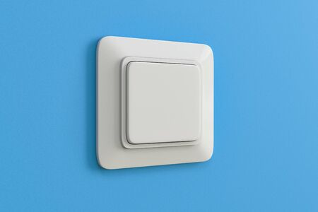 Electric switch on blue wall. Plastic square interior design. 3d rendering illustration.