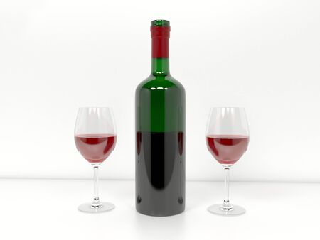 Wine bottle with glasses filled with red wine. 3d rendering illustration
