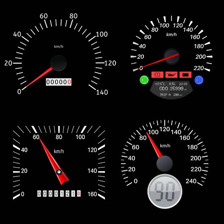 Speedometers. Black various scales of vehicles. Vector illustration