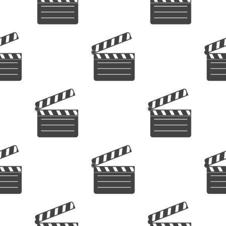 Clapper board. Black flat movie symbol. Seamless pattern. Vector illustration isolated on white background