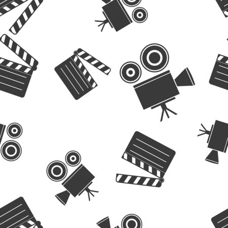 Movie set seamless pattern. Movie projector and clapper board. Vector illustration isolated on white background