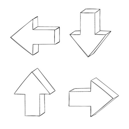 Arrows. Hand drawn sketch. Vector illustration isolated on white background Ilustração