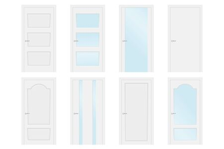 White interior doors. Collection. Vector illustration isolated on white background