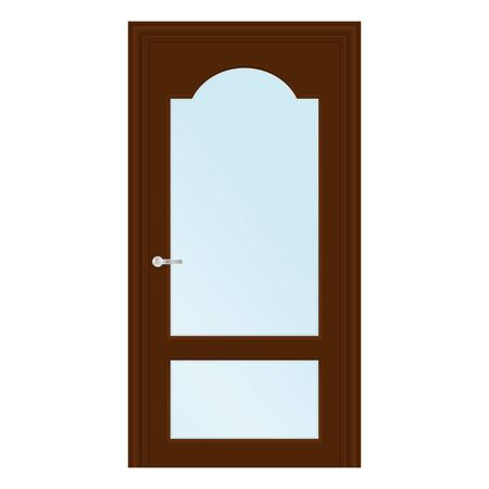 Brown interior door with glass element. Vector illustration isolated on white background