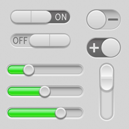 Gray and green web buttons. Push buttons, toggle switch buttons and sliders. Vector 3d illustration Vector Illustration