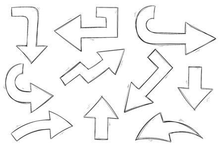 Arrows. Black and white hand drawn sketch. Vector illustration isolated on white background