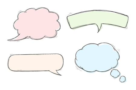 Speech bubbles. Colored set of hand drawn sketch icons. Vector illustration isolated on white background