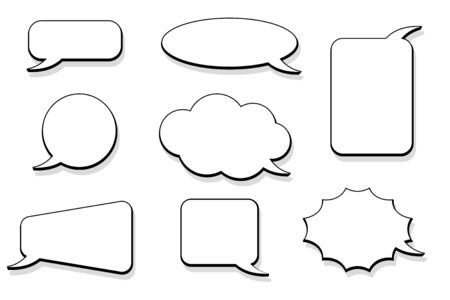 Speech bubbles. Outline icons. Vector illustration isolated on white background Vectores