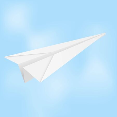 Paper airplane. Folded glider in blue sky. Vector illustration