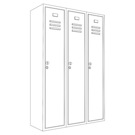 Lockers. Outline drawing. Vector illustration isolated on white background