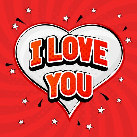 I love you. Red text in capitals on red background. Vector illustration Vectores