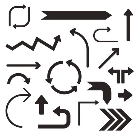 Black arrows. Set of simple signs. Vector illustration isolated on white background