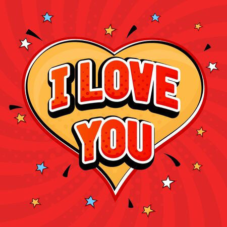 I love you in pop art style. On red heart background. Vector illustration