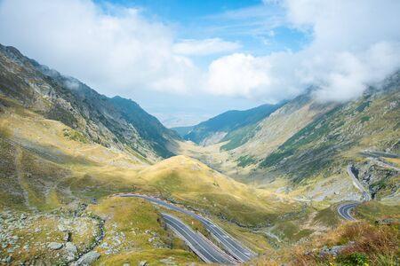 Transfagarasan road with beautiful mountains landscape. Summer sunny weather in Romanian Carpathians. The most dangerous road in Europe Foto de archivo - 150082409