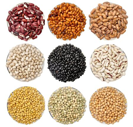 Colored beans. Variations and mix food isolated on white background