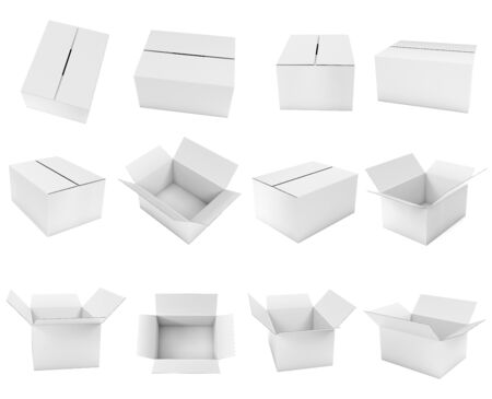 White box. Cardboard carton set of open and closed boxes. 3d rendering illustration isolated on white background