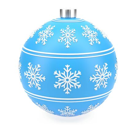 Christmas blue decoration ball. 3d rendering illustration isolated on white background