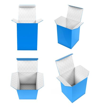 Blue high box. Set of open cartons with white inside. 3d rendering illustration isolated on white background Banco de Imagens