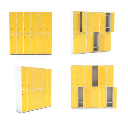 Yellow lockers for schoool or gym. Set of closed and open sections. 3d rendering illustration isolated on white background