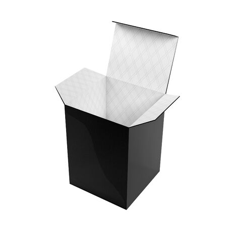 Black high box. Open carton with white inside. 3d rendering illustration isolated on white background