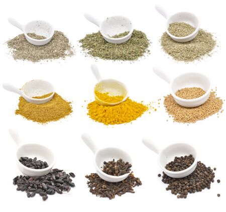 Spices in white bowls, isolated on white background Foto de archivo