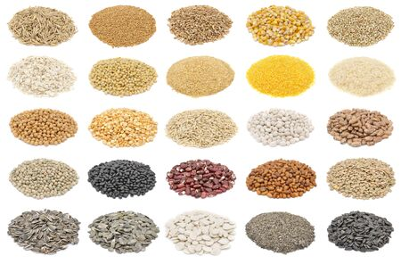 Cereals and basic food staple large collection isolated on white background Zdjęcie Seryjne