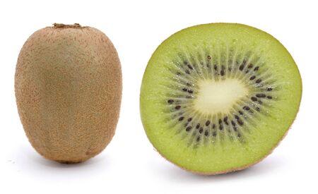Kiwi fruit, whole and cut in halves isolated on white background