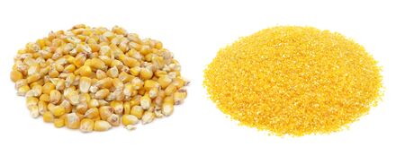 Corn grains and corn flour isolated on white background
