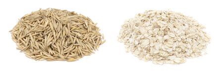 Oat grains and oat flakes isolated on white background Foto de archivo
