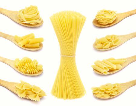 Pasta set. Raw italian food isolated on white background